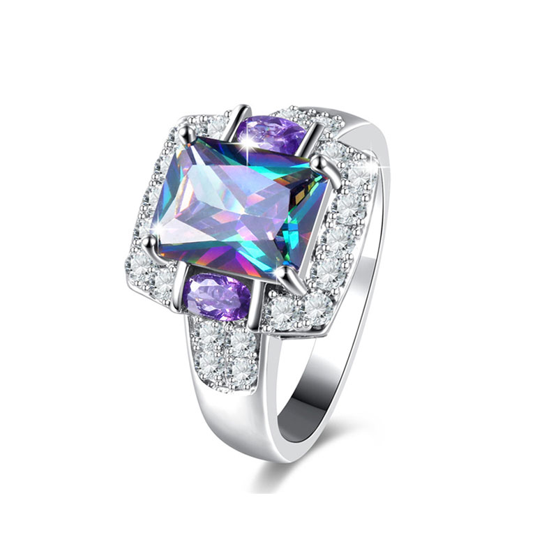 Multi-Colour Radiant Diamond Ring