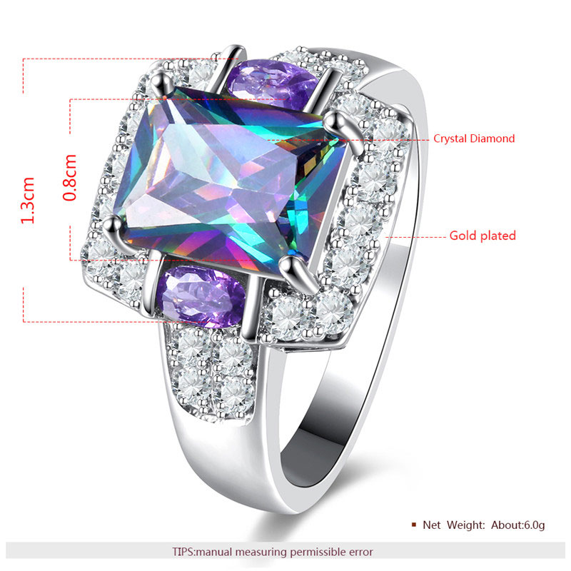 Multi-Colour Radiant Diamond White Gold Ring