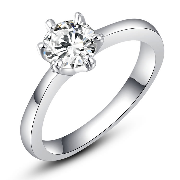 Classic Solitaire White Gold Ring
