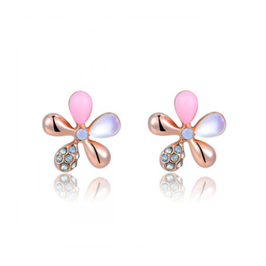 Five Petals Rose Gold Stud Earrings