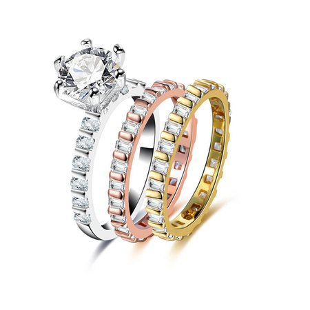 Gear Three-Colour Diamond Ring Set