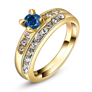Yellow Gold Sapphire Wedding Ring Set