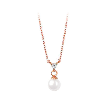 Stylish Pearl & Zirconia Rose Gold Necklace