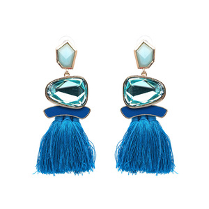 Ethical Style Blue Tassel Earrings - Sapphire