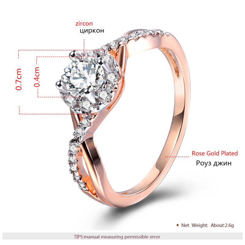 Separations Twist Halo Daimond Rose Gold Ring