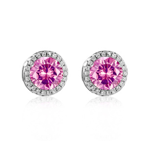 Sterling Silver Round Pink Earrings