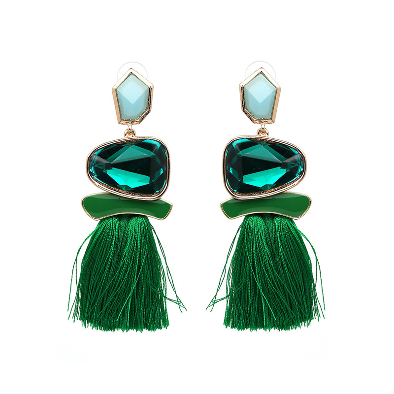 Ethical Style Green Tassel Earrings - Emerald