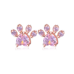 Paw Pink Diamond Stud Earrings