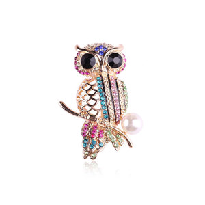 Multicolour Diamond Owl Brooch