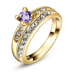 Yellow Gold Amethyst Wedding Ring Set