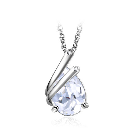 Half-Enclosed Teardrop White Gold Necklace