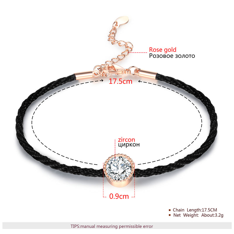 Black Cord Solitaire Diamond Couples Bracelet
