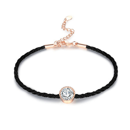 Black Cord Solitaire Diamond Bracelet