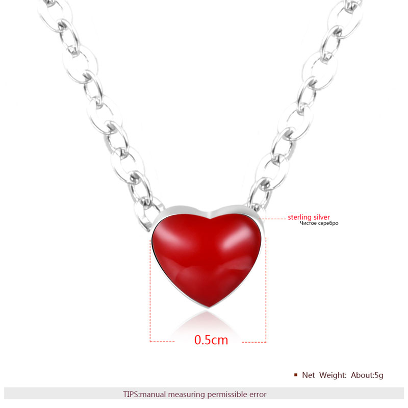 Red Heart 925 Sterling Silver Necklace