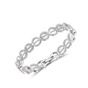 Round Cut Out White Gold Bangle