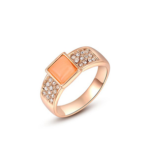 Square Opal Rose Gold Ring