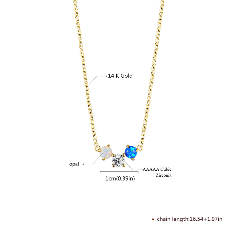 Three Round Gemstones 14k Gold Necklace