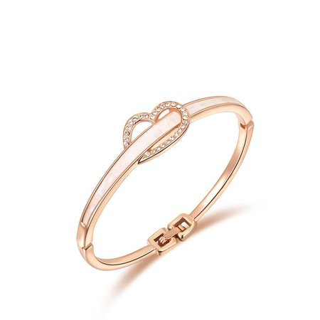 Jewel Heart Rose Gold Bangle