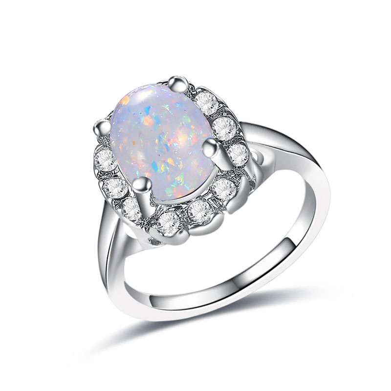 White Fossil Opal White Gold Ring