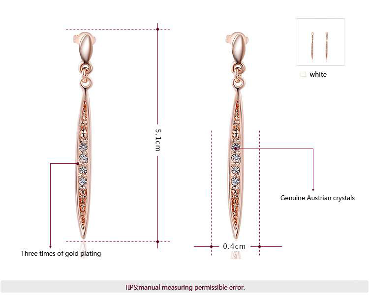 Slim Shuttle Drop Rose Gold Earrings