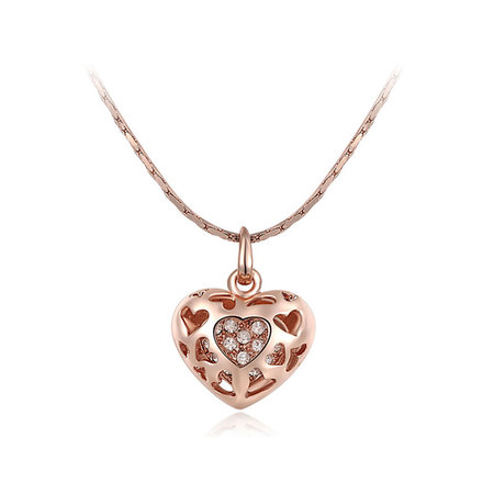 Heart and Heart Cut Out Pendant - Rose
