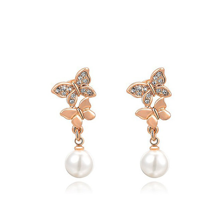 Double Butterfly Pearl Dorp Earrings - Rose