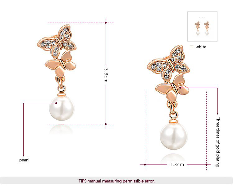 Double Butterfly Pearl Dorp Rose Gold Earrings