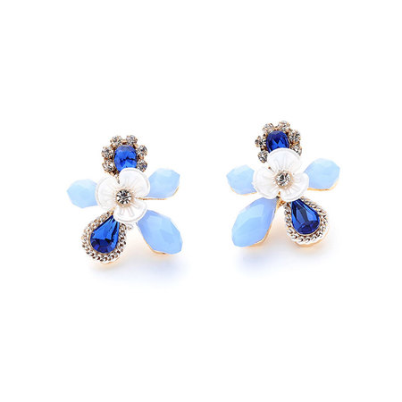 Fashion Sapphire Flower Stud Earrings