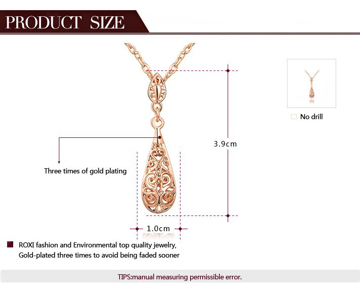 Cut Out Drop Shape Cystal Pendant Necklace