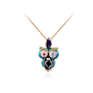 Multicolour Owl Pendant Necklace - Rose Gold