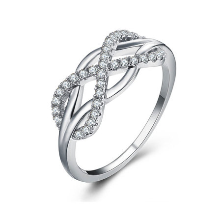 Infinity Cross White Gold Zirconia Ring
