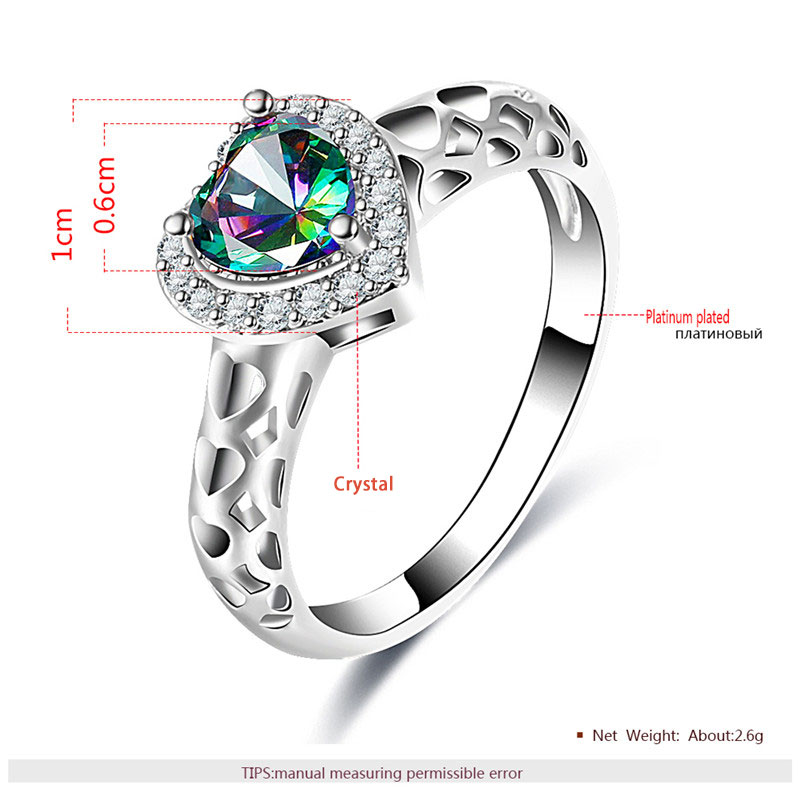 Cut Out Heart Multicolor Diamond Halo White Gold Ring
