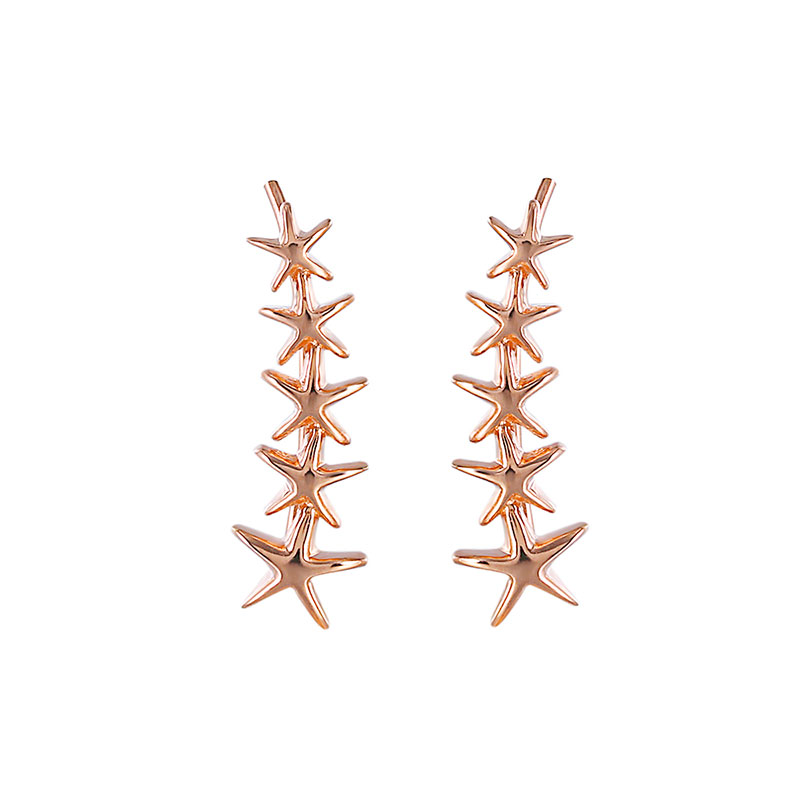 One Row Starfish Rose Gold Stud Earrings
