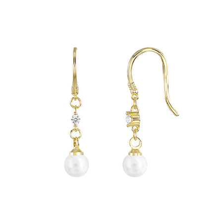 Stylish Pearl & Zirconia 18K Gold Earrings