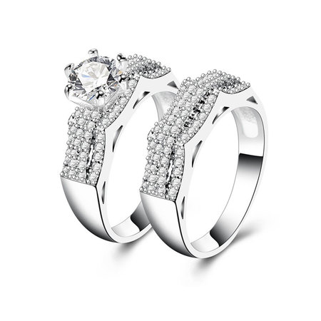 Three Arch Bridge Diamond Couple Rings