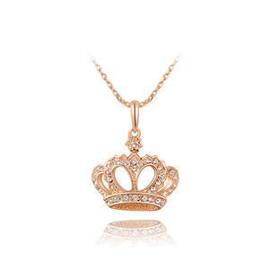 Queen Crown Diamond Rose Gold Necklace