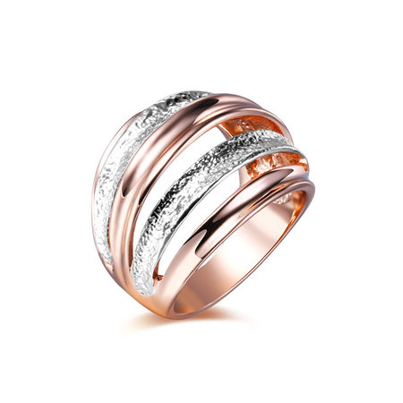 Shiny Frosted Two-Tone Ring