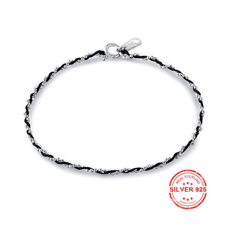 925 Sterling Silver Chain & Leather Twine Bracelets