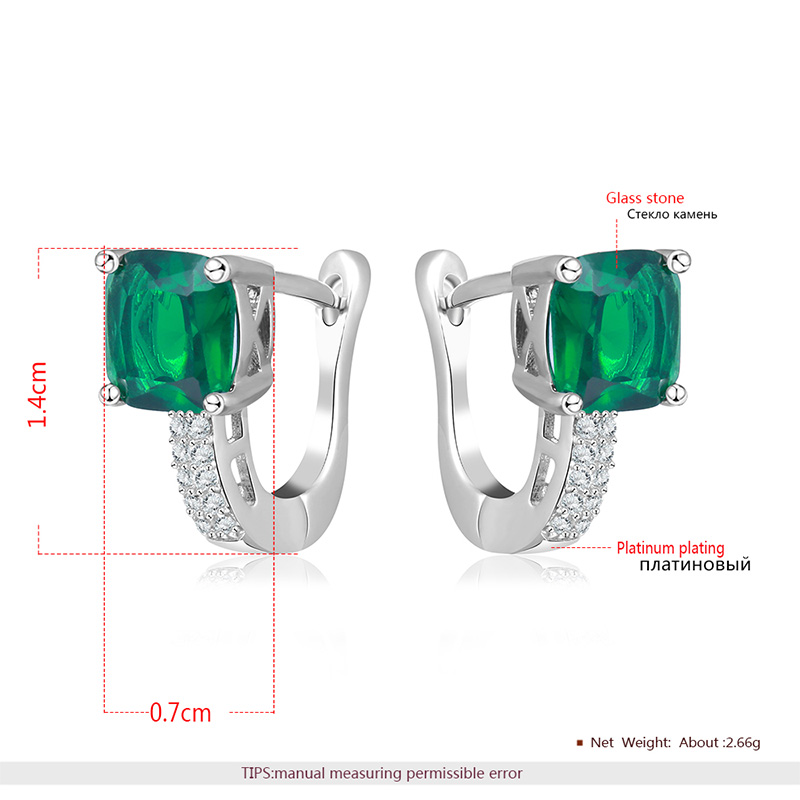 Emerald Fashion White Gold Clip Earrings