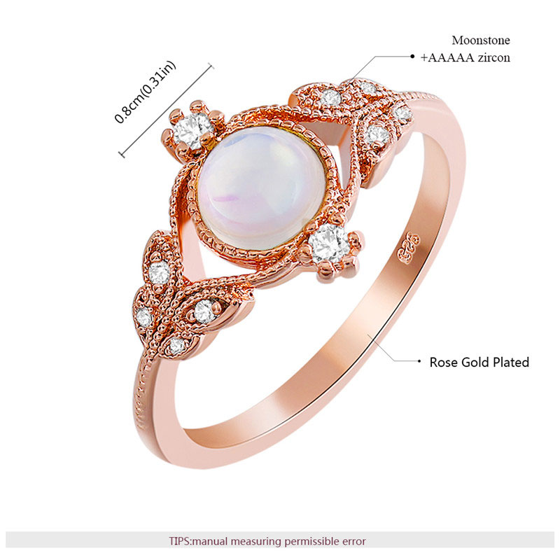 Four Eyes Leaves Moonstone Rose Gold Ring