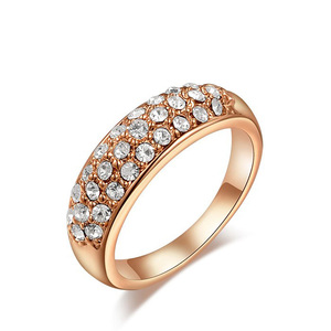 Three Rows Diamond Rose Gold Ring
