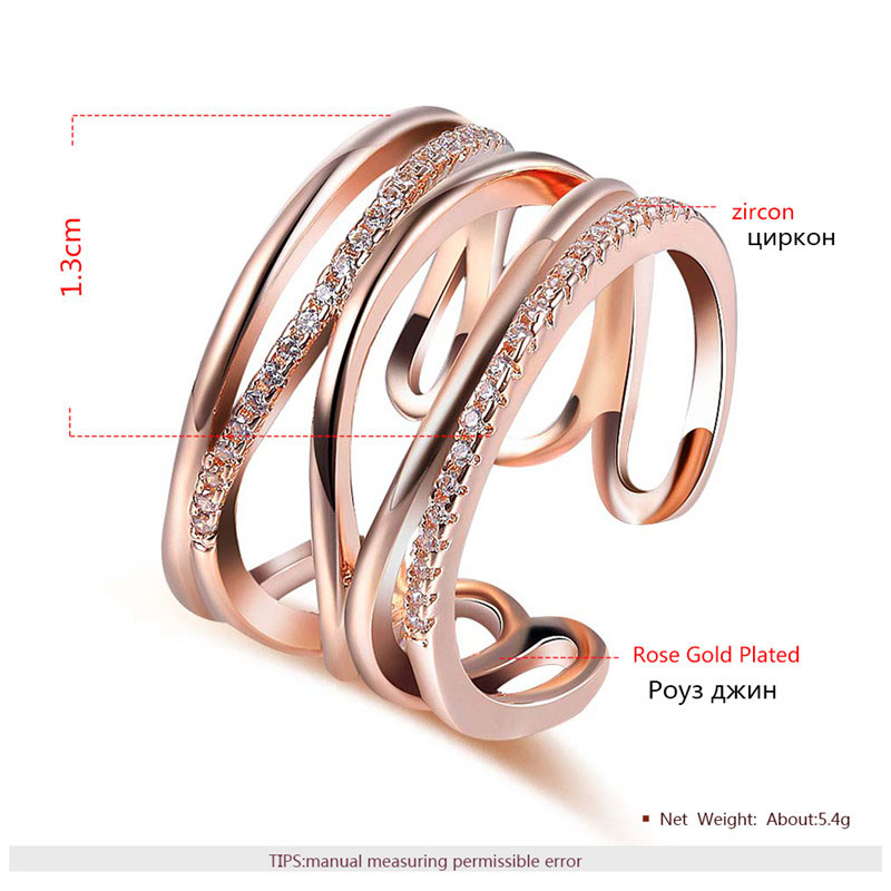Multi-thread Open Adjustable Rose Gold Ring