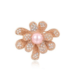 Blooming Flower Pink Pearl Brooch