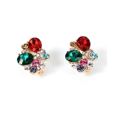 Christmas Colorfull Zirconia Clip Earrings