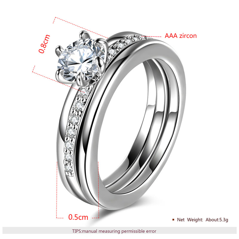 Classic Six Paw Round Diamond White Gold Ring Set