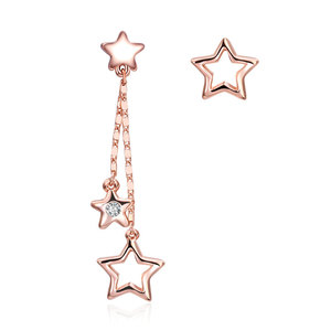 Asymmetric Pentagram Rose Gold Earrings