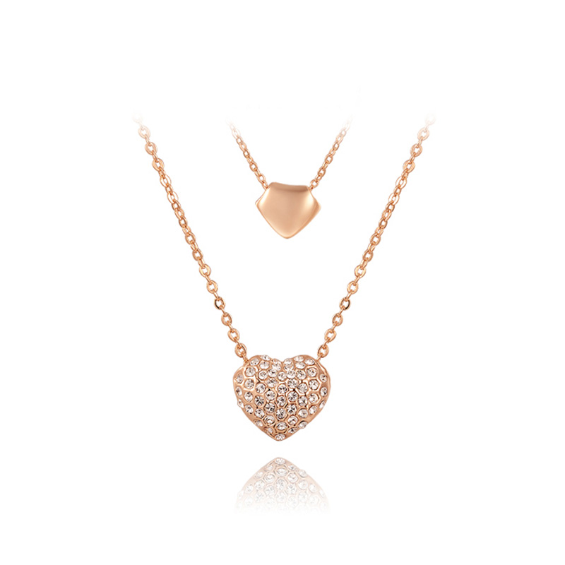 Double Heart and Double Chain Necklace