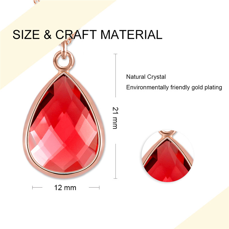 Teardrop Ruby Pendant Rose Glod Necklace