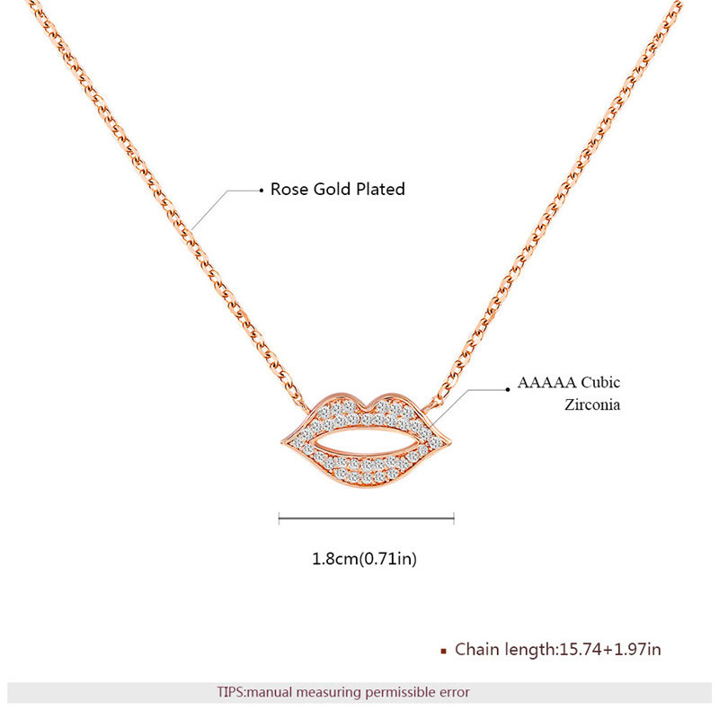 Personalized Lip Pendant Rose Gold Necklace