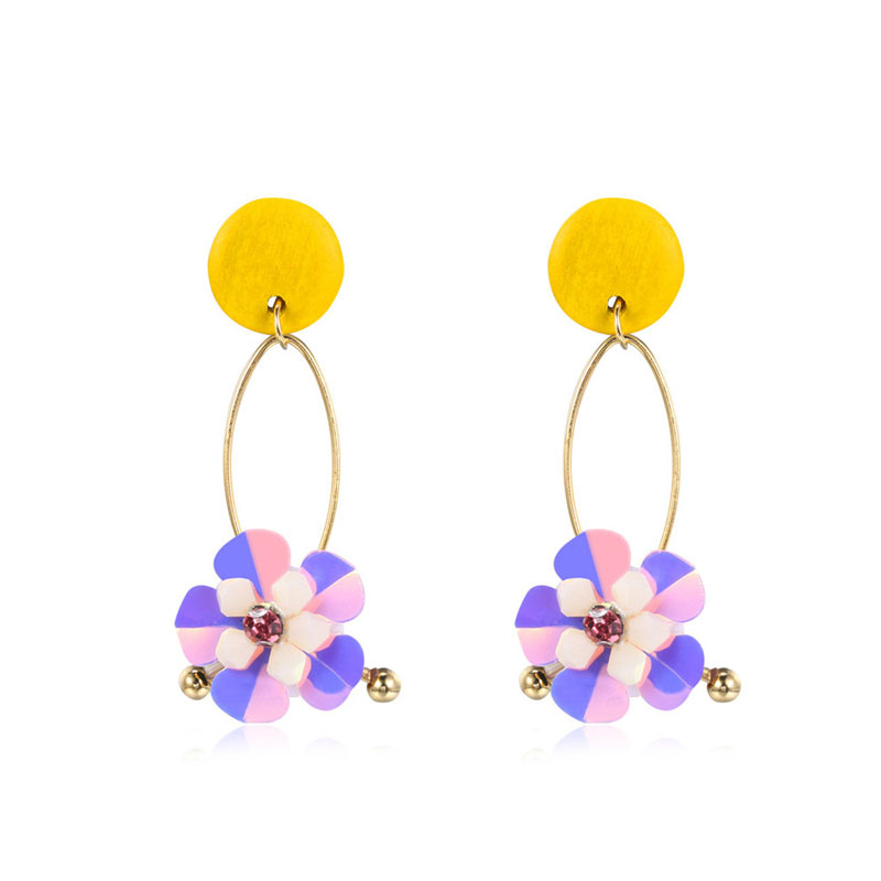 Two-Tone Sequin Petals Earrings - Yellow